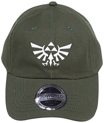 Bioworld Nintendo Legend of Zelda Embroidered Tri-Force Crest Stone Washed Denim Dad Cap Casquette de Baseball, Vert Green, Taille Unique Mixte