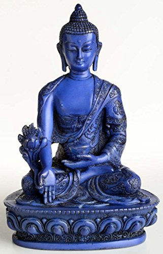 BUDDHAFIGUREN/Billy Held Medizinbuddha Buddha Statue, Resin, Blau 20 cm