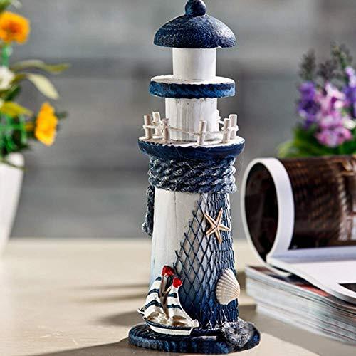 SparY Holz Leuchtturm Dekoration, Nautisch Handwerk Dekor, Südländischer Stil Küste Thema Handgefertigt Leuchtturm Verzierungen, 18 8cm - Marineblau, Free Size (Nautische Dekorationen Thema)