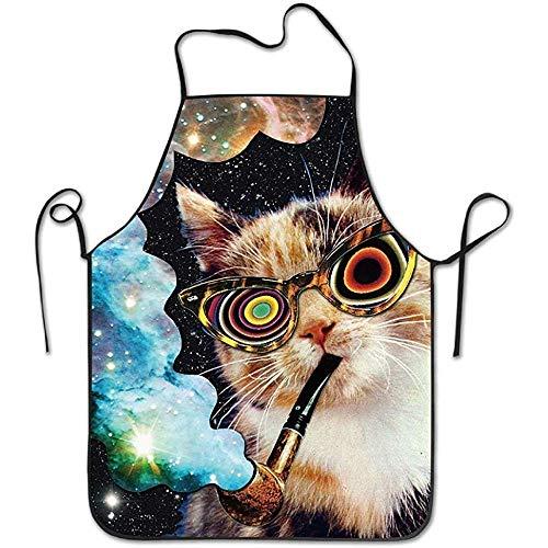 GWrix Küchenschürze,Backschürze,Koch Schürze,Grillschürzen,Unisexküche Schürzen Psychedelische Rauchende Katzen-Kochs-Schürze,Die Schutzblech-Grill-Schutzbleche Kocht