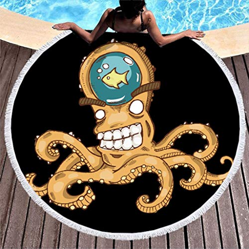 Aquarell Sea Kraken Angriffe Schiff Kunstwerk Druck Runder Strandwurf mit Quasten Anime Seeungeheuer Tintenfisch Tentakeln Fantasie Franse Strandtüch Stranddecke white2 onesize -