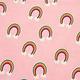 0,5m Jersey Regenbogen mit Wolken rosa Hintergrund 5%