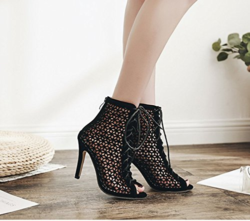 KHSKX-Au Printemps De Black 8.5Cm Lacets De Chaussures Bottes Un Bien Avec Des Bottes En Daim Côté Zipper Bottes Thirty-nine
