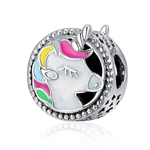 Cuentas de unicornio esmaltadas, de plata de ley 925 auténtica, adorables, compatibles con las pulseras de abalorios originales, para mujer, joyería artesanal