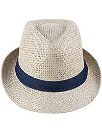 Zhiyuanan Cappello Estivo In Paglia Trilby Tinta Unita Fedora Cap Outdoor  Casual Cappellino Mare 6a2f65978518