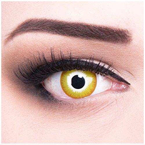 (Funnylens 1 Paar farbige Crazy Fun gelbe weisse sonne Sunburst Jahres Kontaktlinsen. Perfekt zu Halloween, Karneval, Fasching oder Fasnacht mit gratis Kontaktlinsenbehälter ohne Stärke!)