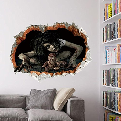 Xmansky Glücklich Halloween Haushalt Abnehmbar Mauer Aufkleber Wandgemälde Terror Wandsticker (C) (Mut Hund Kostüm)