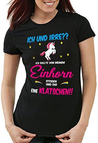 style3 ICH und IRRE? Einhorn absteigen klatschen Damen T-Shirt Einhörner Fun Spruch Mädchen Tochter JGA, Farbe:Schwarz, Größe:XL (Mensch Und Pferd Kostüm)