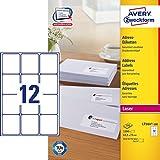 Avery Zweckform L7164-100 - Etichette adesive per indirizzi, 63,5 x 72 mm, 100 fogli per un totale di 1.200 etichette, bianco