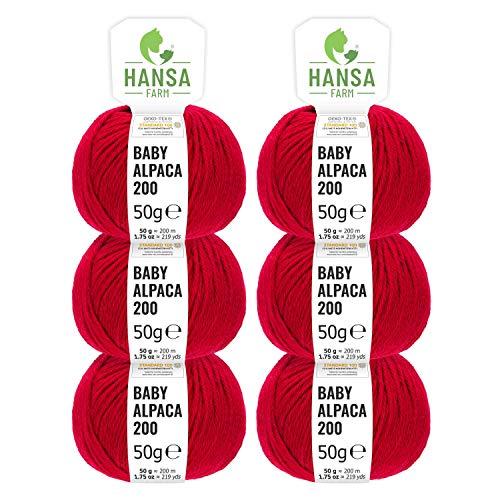 100% Alpakawolle in 50+ Farben (kratzfrei) - 300g Set (6 x 50g) - weiche Baby Alpaka Wolle zum Stricken & Häkeln in 6 Garnstärken by Hansa-Farm - Rot - 100% Cashmere Jacke