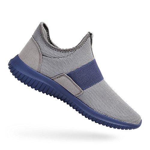 ZOCAVIA Sportschuhe Slip on Leicht Laufschuhe Sneaker Atmungsaktiv Freizeitschuhe Damen Herren Grau-Blau 39 EU