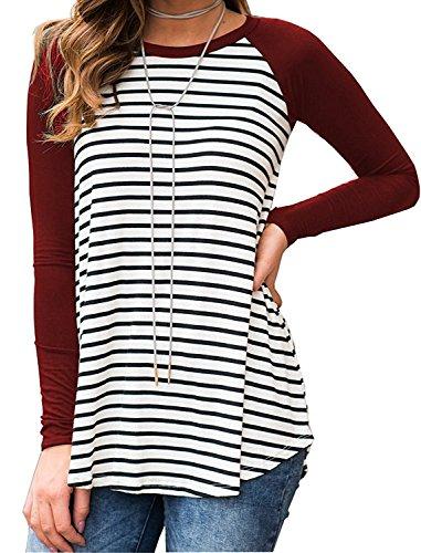 Shelers Damen Gestreift Einfarbig Raglan Langarm Baseball Sport T-Shirt Tunika Sweatershirt Bluse Tops (Baseball Shirt Raglan-Ärmel)