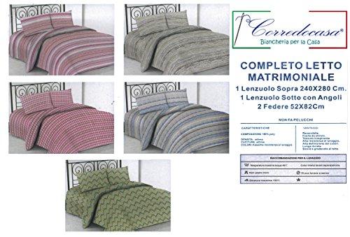 Completo lenzuola in Pile Matrimoniale (Colore da scegliere con una mail - Fantasie assortite)