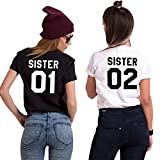 Minetom Best Friend T Shirt Donna Divertenti Estive Tumblr Stampa Nera Magliette Manica Corta Taglie Forti Nero - Bianca 02 IT 38