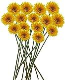 Fourwalls 40cm Tall Artificial Gerbera Flower Stem (Set of 15, Yellow)