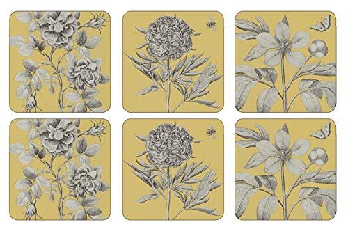 Pimpernel Etchings & Roses Yellow Untersetzer 6 Stück (m) China Pebble