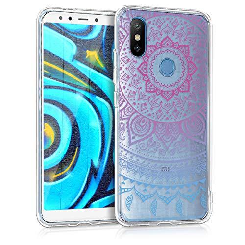 kwmobile 45061.01 Funda para teléfono móvil Azul, Rosa, Transparente - Fundas para teléfonos móviles (Funda, Xiaomi, Mi 6X / Mi A2, Azul, Rosa, Transparente)