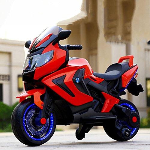 (QXMEI Kinder-Elektro-Motorrad-Dreirad 2-3-5-8-jährige Männliche und Weibliche Baby Kann Ein Spielzeugauto Fahren,Red)
