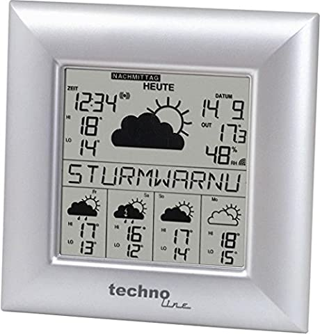 WetterDirekt Wetterstation WD 9000 mit Innen- / Außentemperautanzeige, Wettervorhersage für 5 Tage und Wetterdaten für über 50 Regionen
