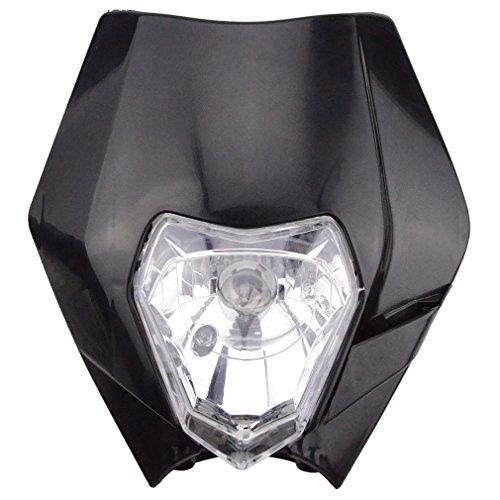 GOOFIT 12V 35W Motorrad Dirt Bike Motocross Supermoto Scheinwerfer Maske Indicator Verkleidungs Lichtmaske Lampshade Schwarz