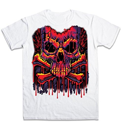 FPD - Melting Crossbon Skulls Mens T-shirt XS-XXL Bianca XXL