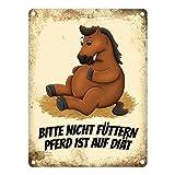 trendaffe - Metallschild mit Pferde Motiv und Spruch: Bitte Nicht füttern - Pferd ist auf Diät