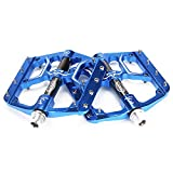 CXWXC Fahrradpedale 9/16 Zoll, rutschfeste Fahrrad Pedal Mountainbikes Plattform Pedale Aluminiumlegierung Fläche 3 Abgedichtete Läger für MTB BMX Rennrad (Blau)
