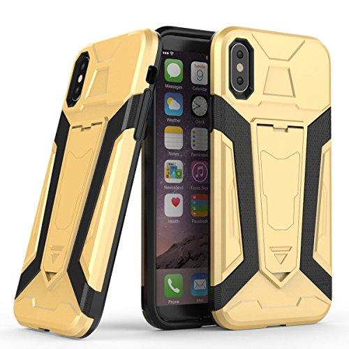iPhone X Caso,Durevole Custodia TPU/PC Doppio Strato Protezione ,Con stent Adatto per iPhone X (5.8-Pollici Nero) Oro