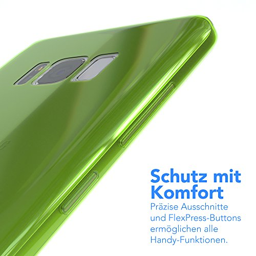 "EAZY CASE Handyhülle für Samsung Galaxy S8 Plus Hülle - Premium Handy Schutzhülle Slimcover ""Brushed"" Aluminium Design - TPU Silikon Backcover in brushed Lila Green - Clear"