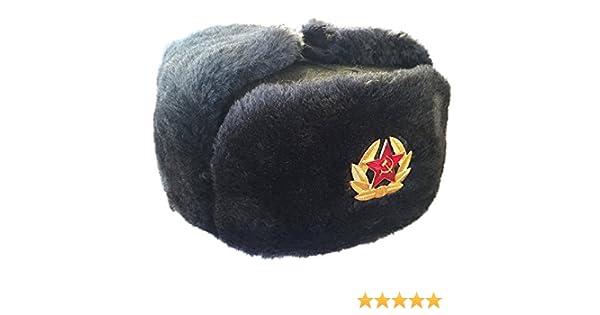 Uschanka oder Tschapka mit Abzeichen Größe L Russische Fellmütze NEU !!!
