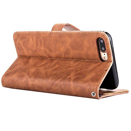 Phone case & Hülle Für iPhone 6 Plus / 6s Plus, Stickerei Blumenmuster Horizontale Flip Leder Tasche mit Halter & Card Slots & Wallet & Photo Frame ( Color : Red ) Brown