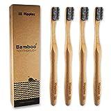 Spazzolini da denti in bambù | Confezione con 4 spazzolini da denti | 100% bambù naturale | Setole infuse al carbone | Senza BPA | 100% biodegradabili