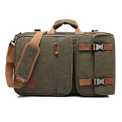 CoolBell 17,3 Zoll umwandelbar Aktentasche Rucksack Messenger Bag Mehrzweck Reiserucksack Herren Umhängetasche Schultertasche Business Travel Backpack Laptoptasche Notebooktasche(Canvas Grün) -