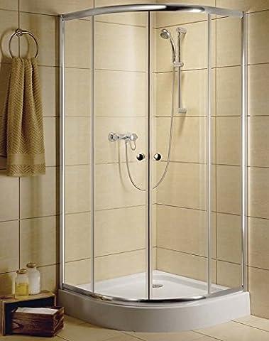 CLASSIC A® Duschabtrennung Rund Dusche Viertelkreis Duschkabine 90x90x185 cm mit Duschwanne| 30000-01-01 Farbe Transparent