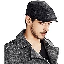 Kenmont hombres invierno otoño hiedra casquillo del sombrero de taxista gorra con visera casquillo enarbolado negro