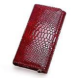 Contacts Echtes Leder Damen Karte Münzhalter Telefon Clutch Geldbörse Brieftasche (Rot)