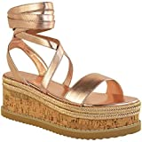 Fashion Thirsty Damen Espadrille-Sandalen mit Keilabsatz & Kork-Plateausohle - Roségoldfarben Metallic - EUR 36
