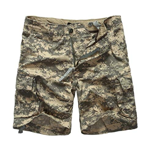 DFEIPING Mens Army Military Camouflage Cargo Shorts Casual Work Multi Pockets Shorts Waist Casual Shorts,ACU Digital Camo,30 -