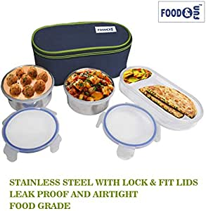 FOOD&FUN Lock & Fit Double Decker Stainless Steel Insulated Lunch Box Set for Office Men, Women, School Kids with Bag Cover | Air Tight (3 Container) by Web Bazaar