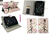 Emartbuy® Hot Pink Stylus + Universal Range Flower Girl Multi Angle Executive Folio Wallet Case Cover With Card Slots Suitable for Medion LifeTab E7310 7 Inch Tablet ( As Sold in Asda )