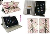 Emartbuy® AlpenTab 7 Zoll Tablet PC Universalbereich Blumenmädchen Multi Winkel Folio Executive Case Cover Wallet Hülle Schutzhülle mit Kartensteckplätze + Hot Rosa Eingabestift