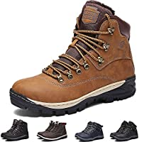 Mens Winter Boots Light Snow Shoes Warm Faux Fur Lined Waterproof Walking Boots Men Ankle Footwear with Non-Slip Rubber Outsole for Walking Hiking Camping, Camel, Size 9 UK 43 EU