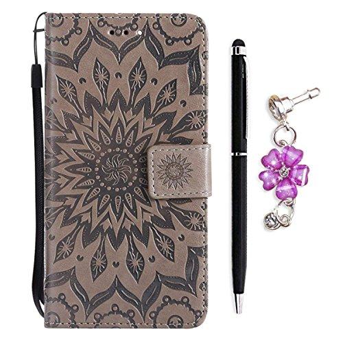 OnlyCase Cover Custodia Nokia Lumia 630 / Nokia Lumia 635,Flip Soft PU in Pelle Portafoglio Notebook in Rilievo Girasole Motivo Design Caso con Chiusura Magnetica Grigio
