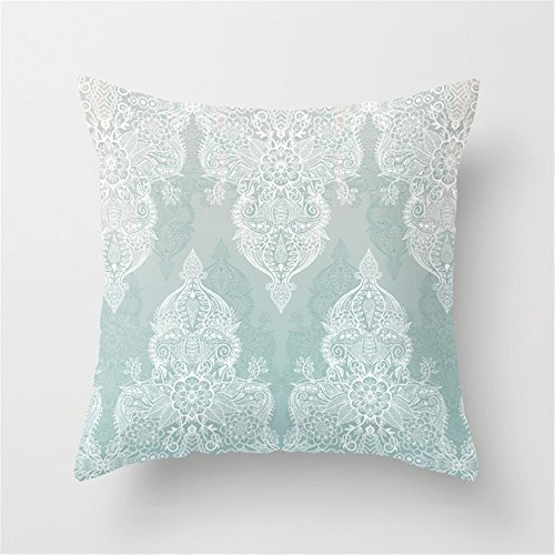 Kissenbezug kissenhülle Kopfkissenbezug Lace Shadows - Soft Sage Grey White Moroccan Doodle Throw Pillow Cushion Cover Case 45×45cm (Sage Shadow)
