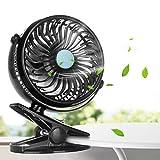 Mini Ventilatore, innislink Ventilatore Portatile USB Clip Ventilatore da Tavolo Batteria Ricaricabile Rotazione a 360 ° Ventola di Raffreddamento per Ufficio Casa Viaggio Campeggio Passeggino - Nero