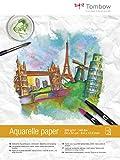 Tombow PB-AQUA Aquarellblock, satiniert, 24 x 32 cm Cremeweiß