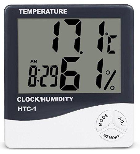 Eidyer LCD Digital Temperatur Luftfeuchtigkeit Meter Thermometer mit Wecker, Mini Digital Thermometer Hygrometer und Luftfeuchtigkeit mit Wecker, LCD Hygrometer Thermomete, genaue Messwerte - (° C / ° F), geeignet für Min / Max-Datensätze für zu Hause, Büro (weiß)