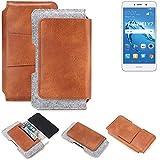 K-S-Trade für Huawei Y7 Dual SIM Gürteltasche Schutz Hülle Gürtel Tasche Schutzhülle Handy Smartphone Tasche Handyhülle PU + Filz, braun (1x)