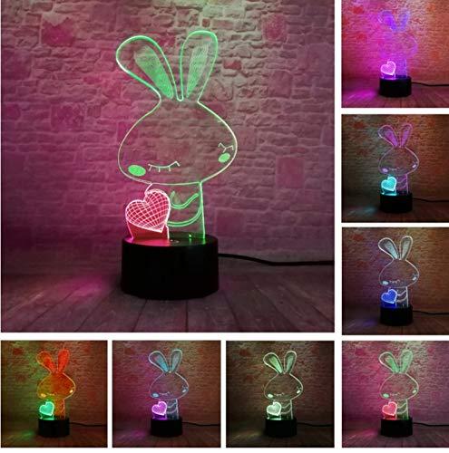 Nachtlicht Erstaunliche zweifarbige Liebe-Herz-Kaninchen-7-Farben-Änderung USB-Note 3D Halloween scherzt Kindspielzeug-Dekor-geführte Lampe