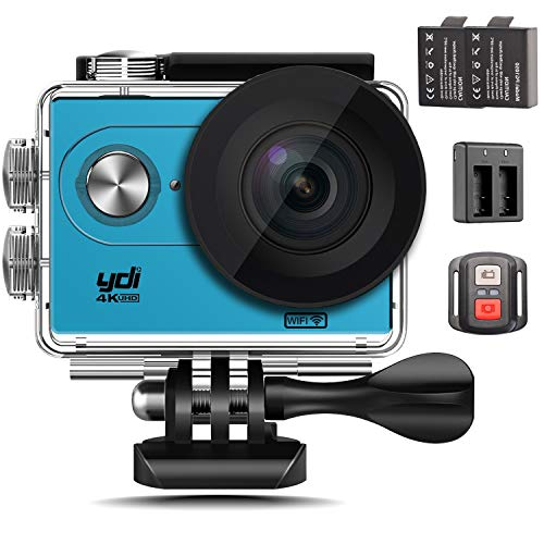 Action Cam 4K, YDI Wasserdicht Action Kamera WiFi Unterwasserkamera 12MP Ultra HD 170 Weitwinkel-Objektiv mit Fernbedienung, 2 Batterien und Doppel-Ladegerät (Blau)